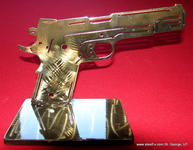 S.A.S.S. Cowboy Action Shooting Award Trophy Steel Gun